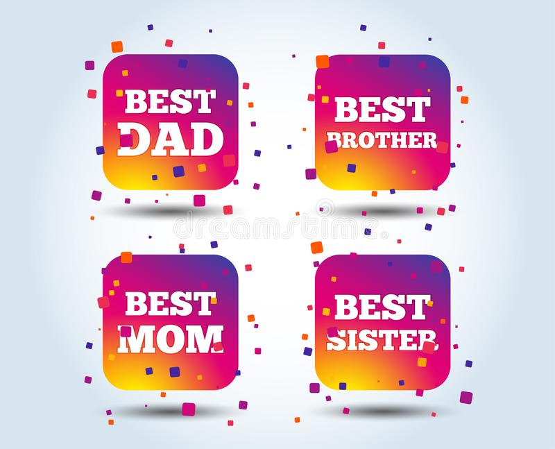 Best mom and dad, brother, sister icons. Best mom and dad, brother and sister icons. Award symbols. Colour gradient square buttons. Flat design concept. Vector royalty free illustration