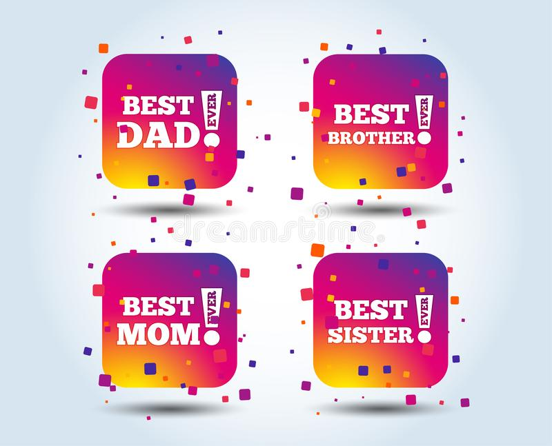 Best mom and dad, brother, sister icons. Best mom and dad, brother and sister icons. Award with exclamation symbols. Colour gradient square buttons. Flat design stock illustration