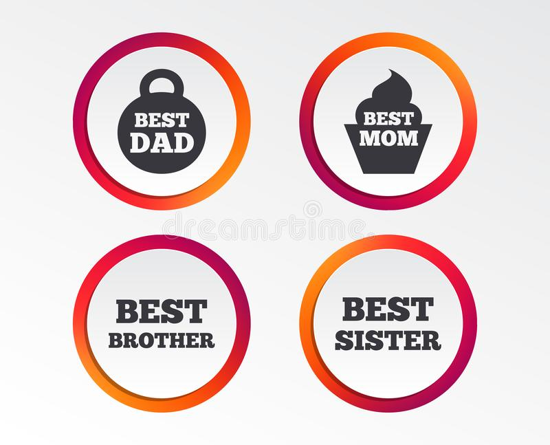 Best mom and dad, brother, sister icons. Best mom and dad, brother and sister icons. Weight and cupcake signs. Award symbols. Infographic design buttons. Circle royalty free illustration