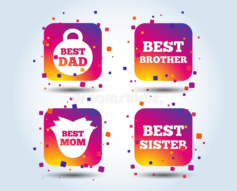Best mom and dad, brother, sister icons. Best mom and dad, brother and sister icons. Weight and flower signs. Award symbols. Colour gradient square buttons royalty free illustration