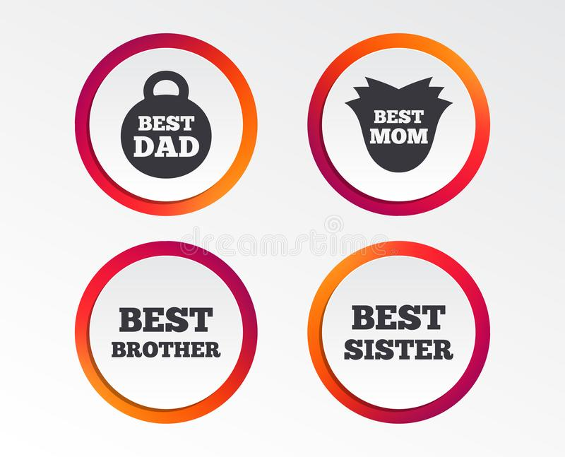 Best mom and dad, brother, sister icons. Best mom and dad, brother and sister icons. Weight and flower signs. Award symbols. Infographic design buttons. Circle stock illustration