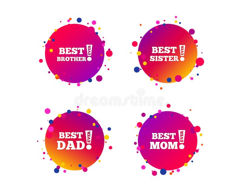 Best mom and dad, brother, sister icons. Vector. Best mom and dad, brother and sister icons. Award with exclamation symbols. Gradient circle buttons with icons vector illustration