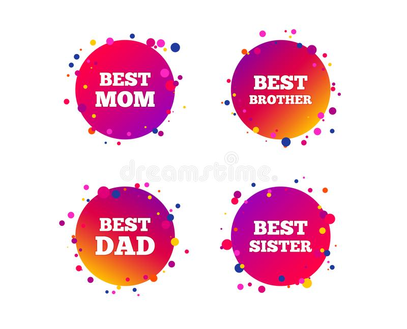 Best mom and dad, brother, sister icons. Vector. Best mom and dad, brother and sister icons. Award symbols. Gradient circle buttons with icons. Random dots stock illustration