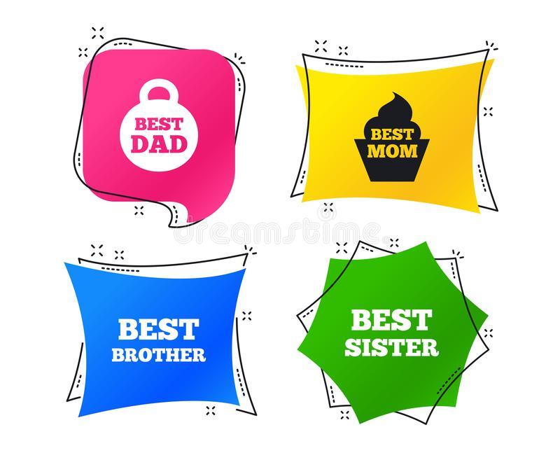Best mom and dad, brother, sister icons. Vector royalty free illustration