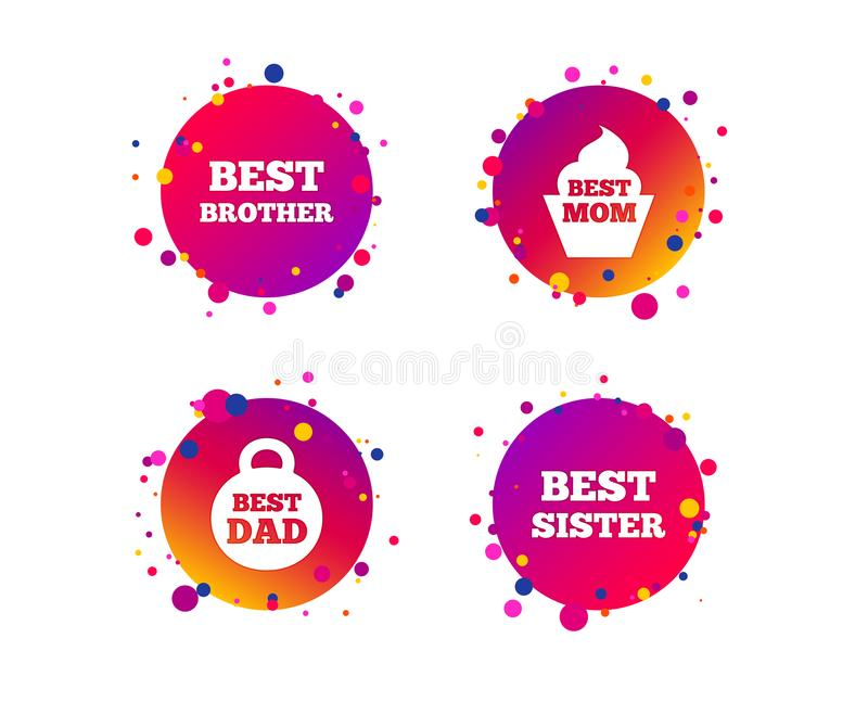 Best mom and dad, brother, sister icons. Vector vector illustration