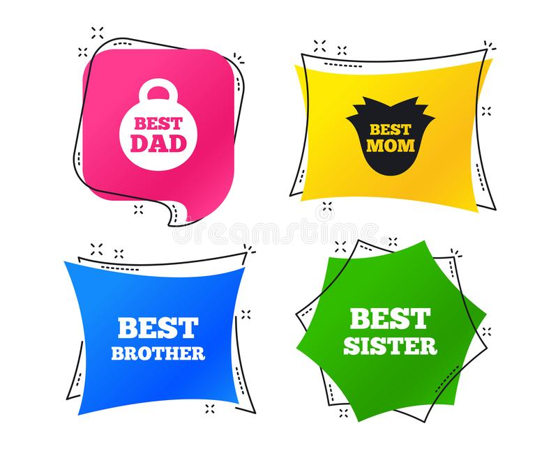 Best mom and dad, brother, sister icons. Vector. Best mom and dad, brother and sister icons. Weight and flower signs. Award symbols. Geometric colorful tags royalty free illustration