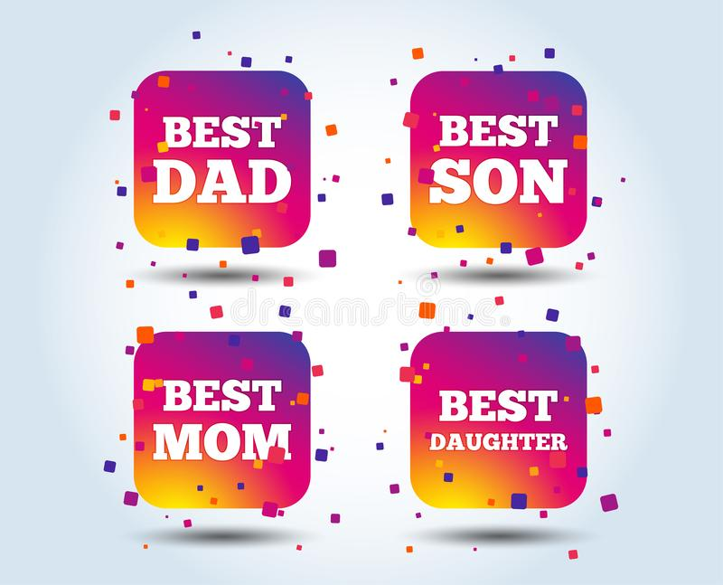 Best mom and dad, son, daughter icons. Best mom and dad, son and daughter icons. Award symbols. Colour gradient square buttons. Flat design concept. Vector stock illustration