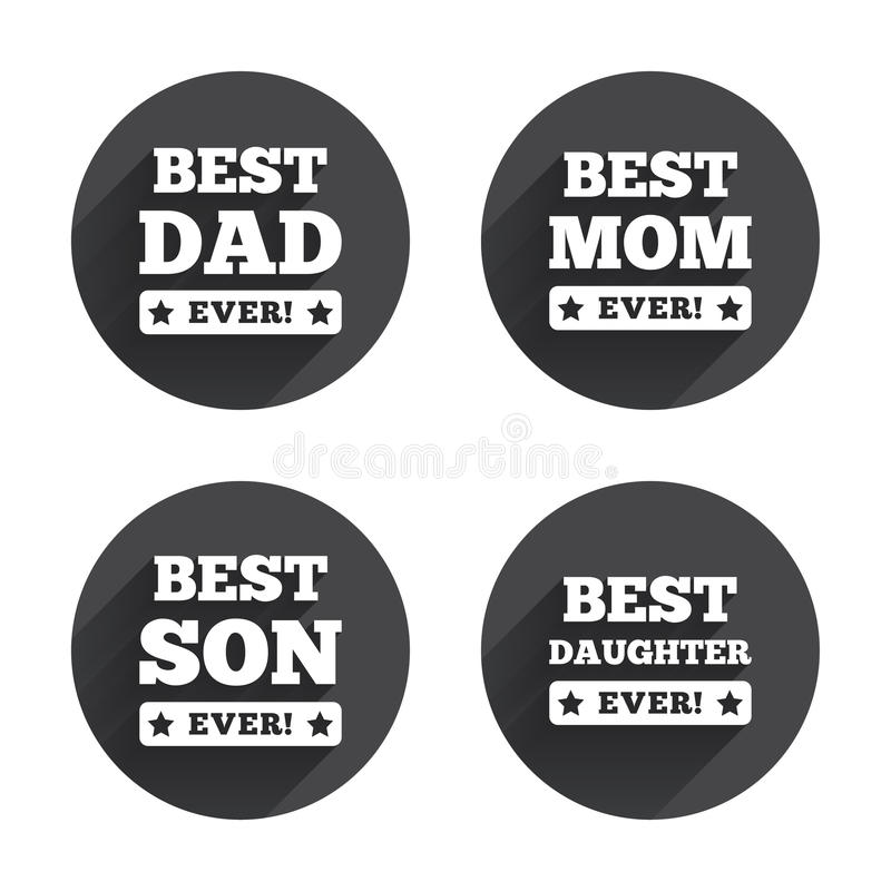 Best mom and dad, son, daughter icons stock illustration