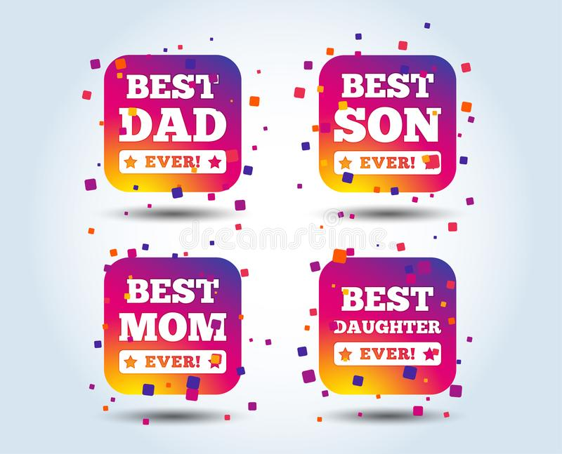 Best mom and dad, son, daughter icons. Best mom and dad, son and daughter icons. Awards with exclamation mark symbols. Colour gradient square buttons. Flat royalty free illustration