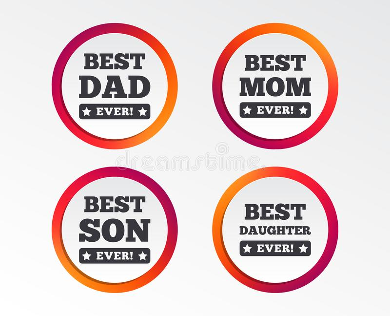 Best mom and dad, son, daughter icons. Best mom and dad, son and daughter icons. Awards with exclamation mark symbols. Infographic design buttons. Circle stock illustration