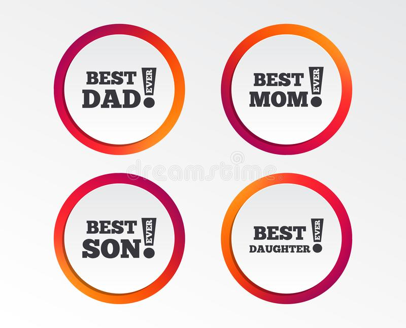 Best mom and dad, son, daughter icons. Best mom and dad, son and daughter icons. Awards with exclamation mark symbols. Infographic design buttons. Circle vector illustration