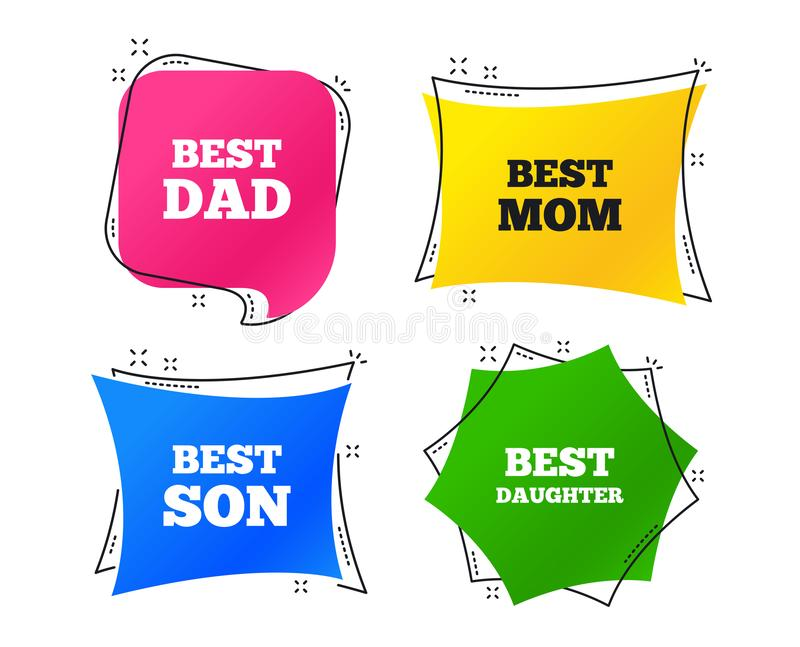 Best mom and dad, son, daughter icons. Vector vector illustration