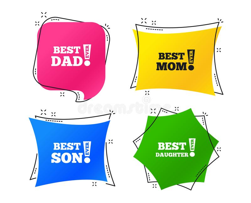 Best mom and dad, son, daughter icons. Vector. Best mom and dad, son and daughter icons. Awards with exclamation mark symbols. Geometric colorful tags. Banners stock illustration
