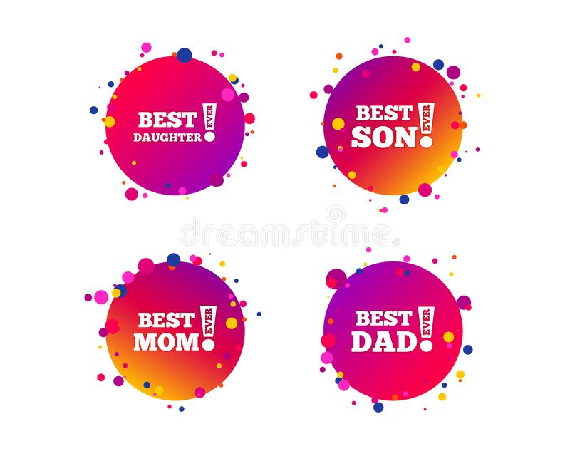 Best mom and dad, son, daughter icons. Vector. Best mom and dad, son and daughter icons. Awards with exclamation mark symbols. Gradient circle buttons with icons vector illustration
