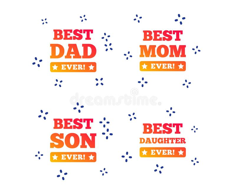 Best mom and dad, son, daughter icons. Vector. Best mom and dad, son and daughter icons. Awards with exclamation mark symbols. Random dynamic shapes. Gradient vector illustration