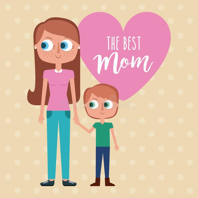 The best mom - woman holds hand kid with pink heart decoration stock illustration