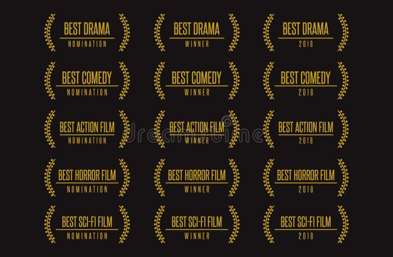 Best movie award winner logo set royalty free illustration