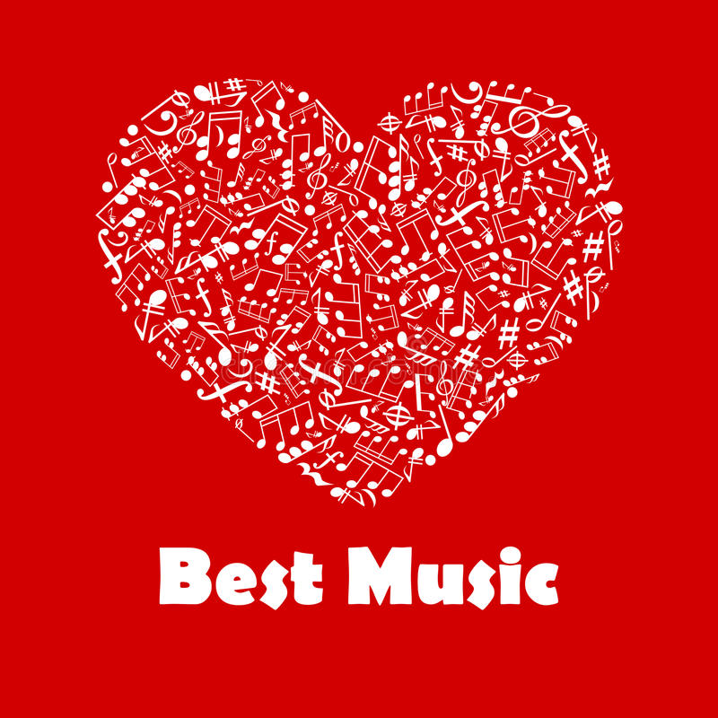 Best Music poster with heart shape musical notes stock illustration