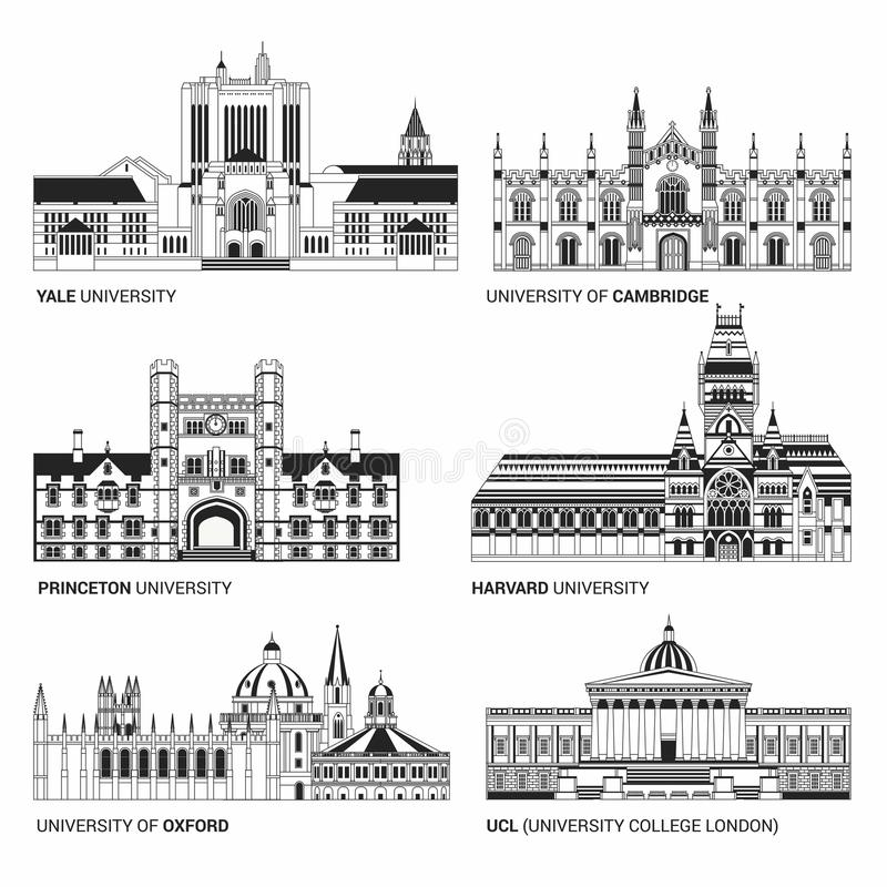 Best National Universities. Flat Buildings of Yale, Oxford, Harvard and Cambridge, Princeton and UCL University College. Best National Universities. Flat Black vector illustration