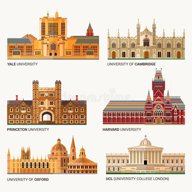Best National Universities. Flat Buildings of Yale, Oxford, Harvard and Cambridge, Princeton and UCL University College. Best National Universities. Flat vector illustration