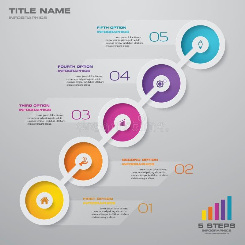 best?ndsdel f?r Timeline f?r 5 moment infographic vektor illustrationer