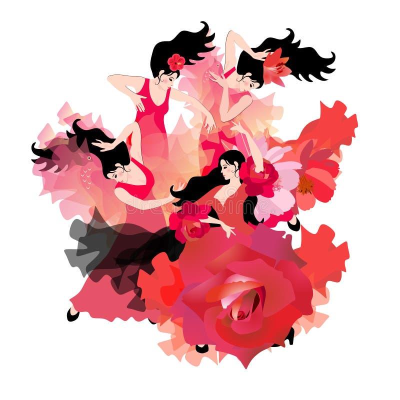 Best?ndsdelen av brand Fyra iklädda röda klänningar för härliga spanska dansare som dansar flamenco Lyxig sammans?ttning vektor illustrationer