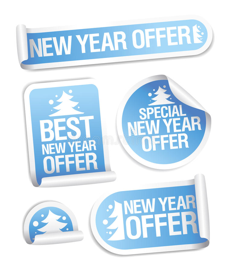 Best New Year offer stickers. vector illustration