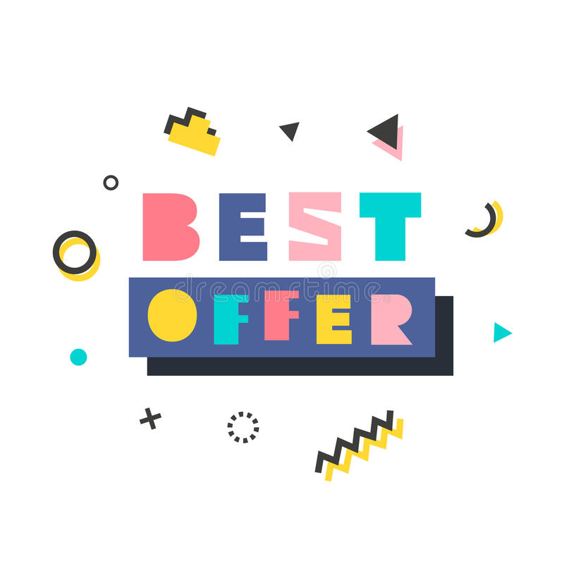 Best Offer modern banner template in Memphis Style royalty free stock images