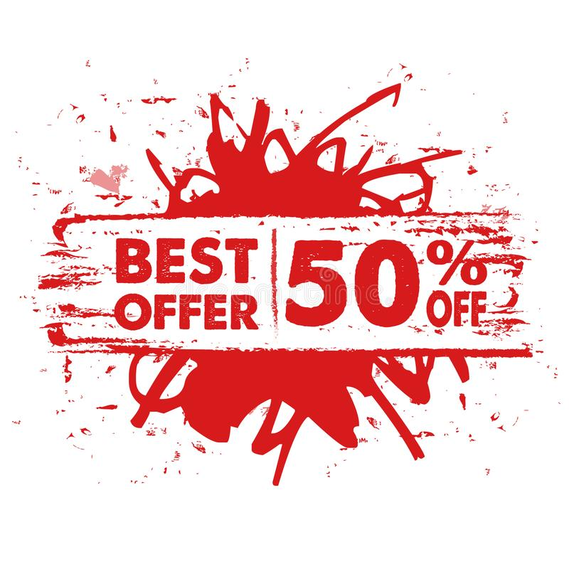 Best offer 50 percent off in red banner stock photos
