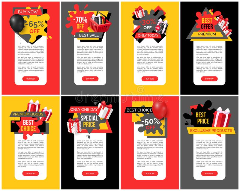 Best Offer and Premium Products Off Prices Set. Best offer and premium products off prices banners set vector. Balloon and presents, promotional propositions and royalty free illustration