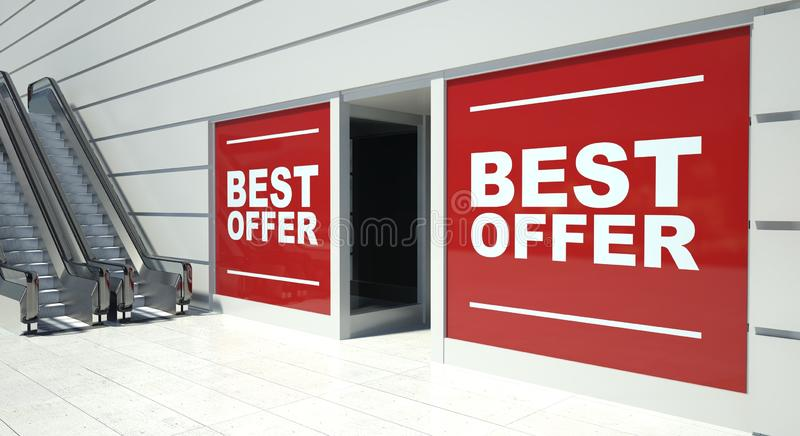 Best offer on shopfront windows and escalator. S royalty free illustration