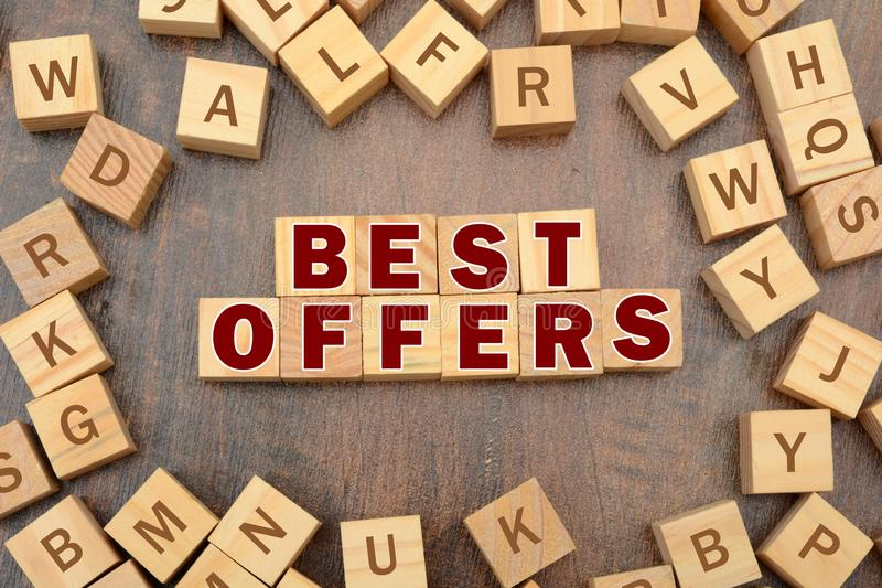 Best Offers Banner with wooden word blocks scattered around stock image
