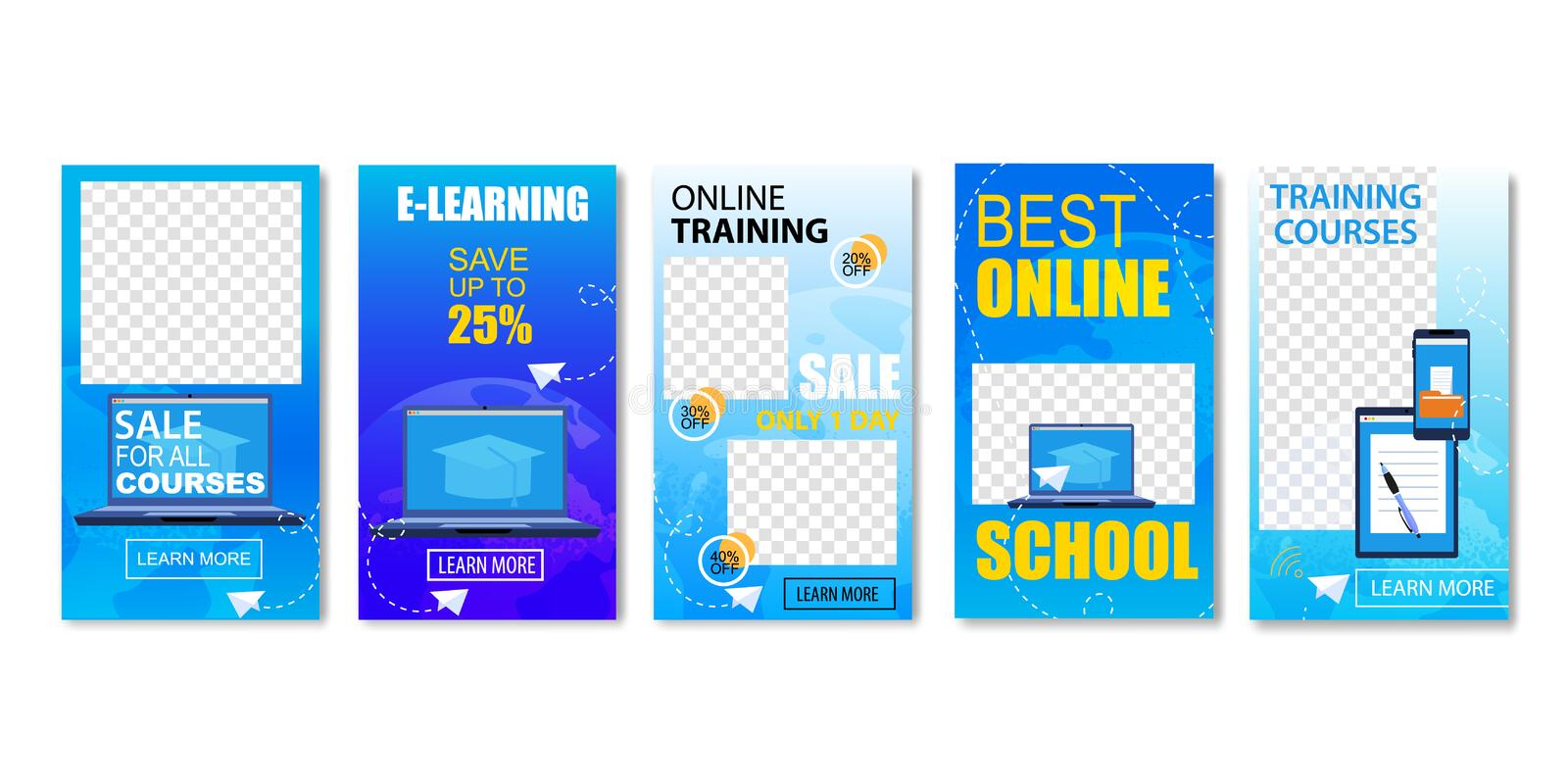 Best Online School, Sale for All Courses Set. royalty free illustration