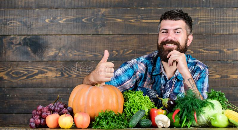 Best organic food. bearded mature farmer. harvest festival. organic and natural food. happy halloween. seasonal vitamin. Food. Useful fruit and vegetable. men royalty free stock images