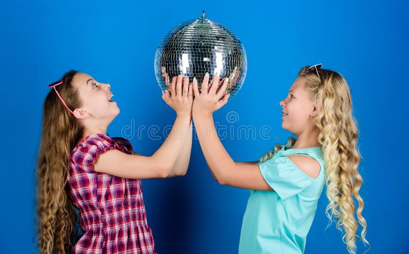Best party ever. happy birthday. holiday celebration. dancing and having fun. small girl spend time together. friendship. And sisterhood concept. small girls royalty free stock photo