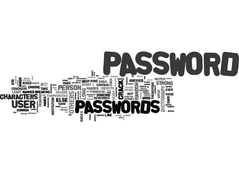 Best Passwords Word Cloud stock illustration