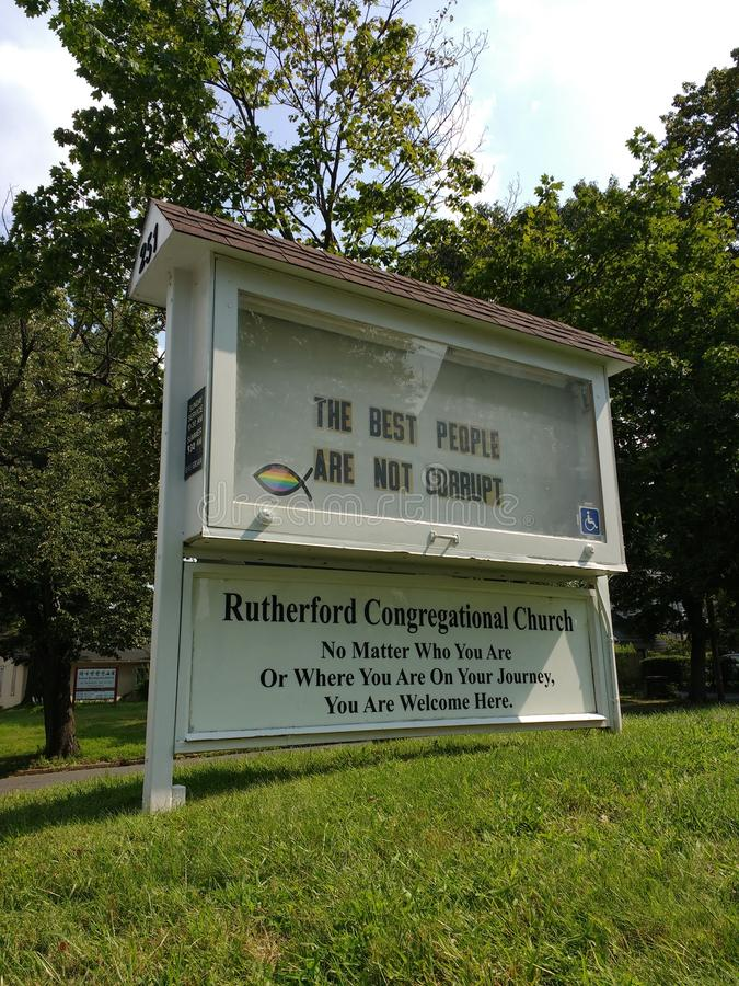The Best People Are Not Corrupt, Government Corruption, Church Signs royalty free stock photography