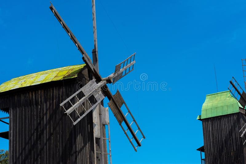 Best photo of windmill on blue sky background. Ukrainian windmill royalty free stock images