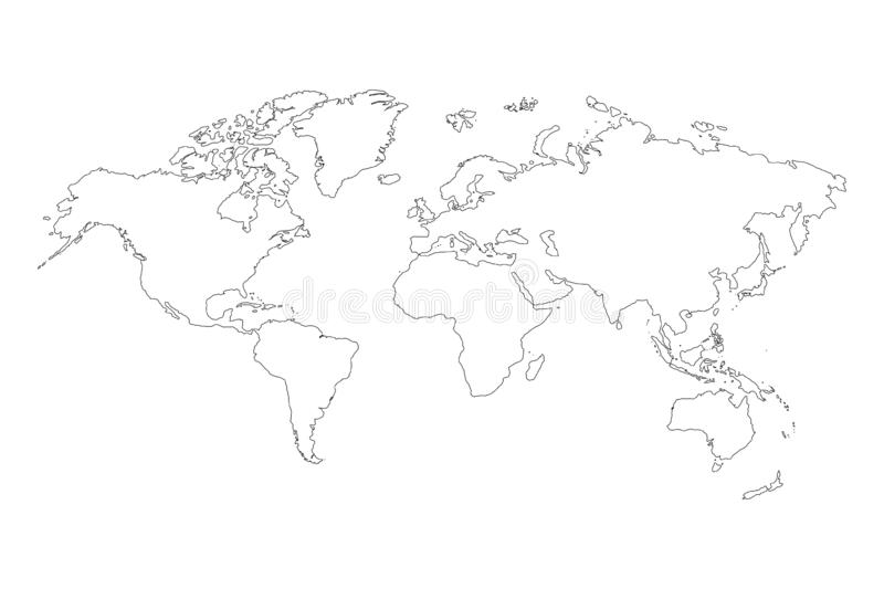 Best popular world map outline graphic sketch style, background vector of Asia Europe north south america and africa royalty free illustration