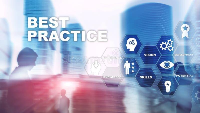 Best practice op het virtuele scherm Bedrijfs, Technologie, van Internet en van het netwerk concept stock afbeelding