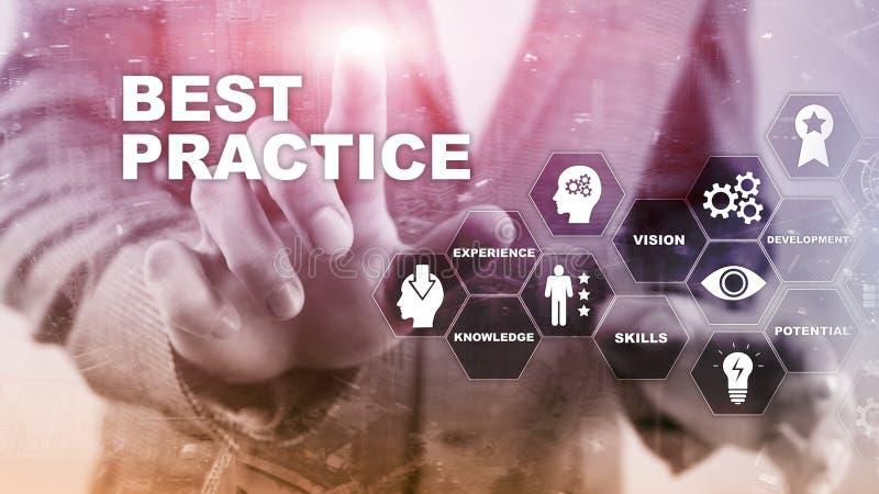 Best practice op het virtuele scherm Bedrijfs, Technologie, van Internet en van het netwerk concept vector illustratie
