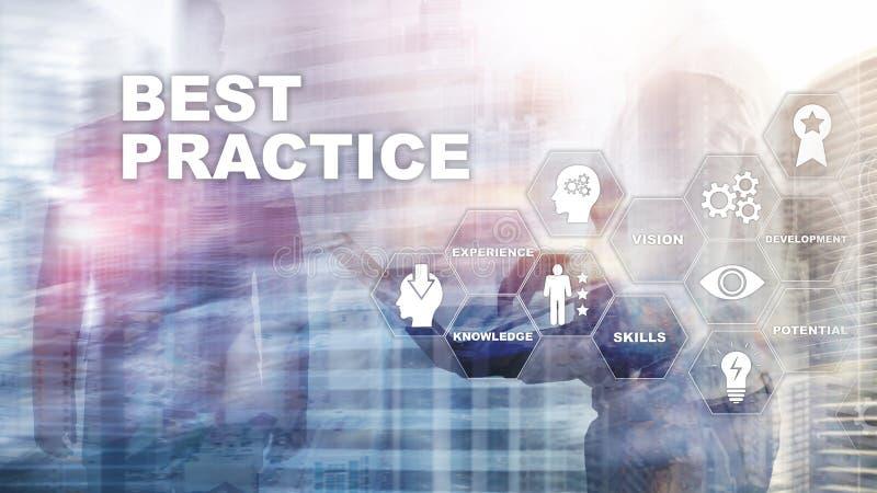 Best practice op het virtuele scherm Bedrijfs, Technologie, van Internet en van het netwerk concept royalty-vrije illustratie
