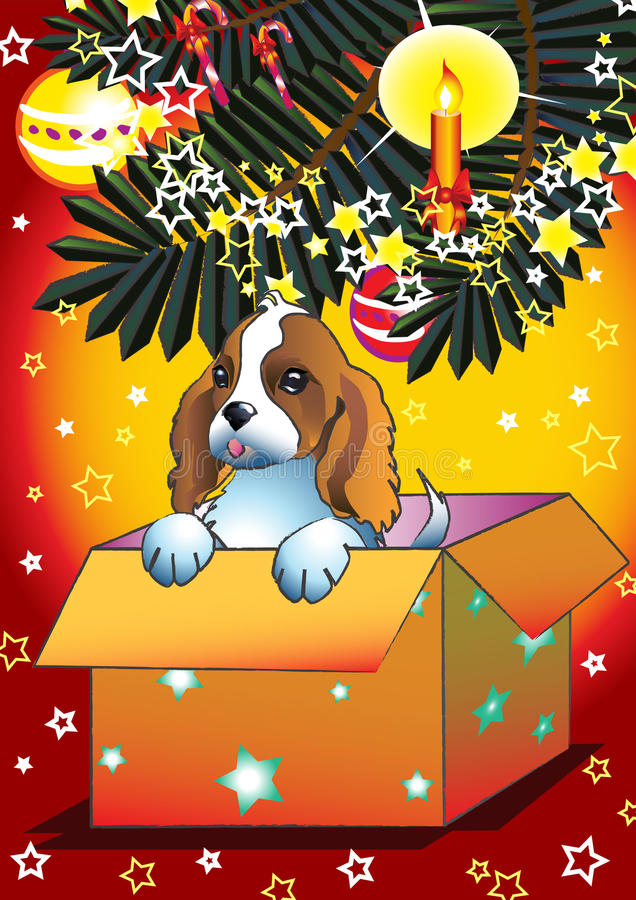 The best present. Illustration of sweet puppy looking out of christmas present royalty free illustration