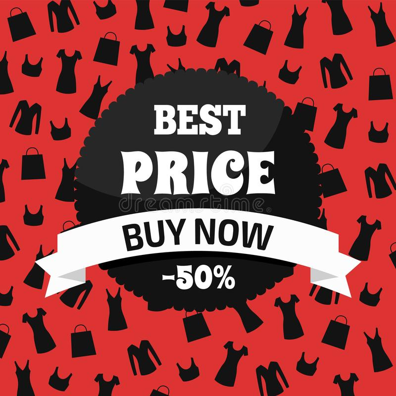 Best Price Buy Now, Red and Black Promotion Card. Vector illustration with round sticker, white ribbon with text, backdrop with bags dresses and tops vector illustration
