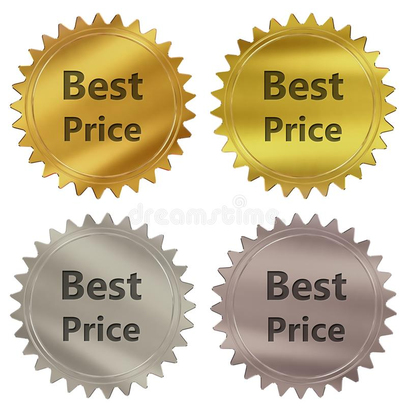 Best price guarantee label. Best price 3d rendered 4 color tag , golden guarantee label stock illustration