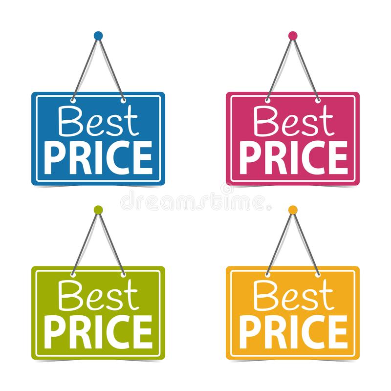 Best Price Hanging Business Signs - Vector Illustration - Isolated On White Background vector illustration