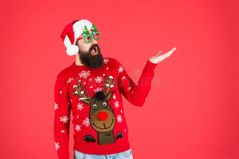 Best price. new year sales here. bearded santa man party glasses. surprised santa ready to celebrate xmas. its time for royalty free stock photo