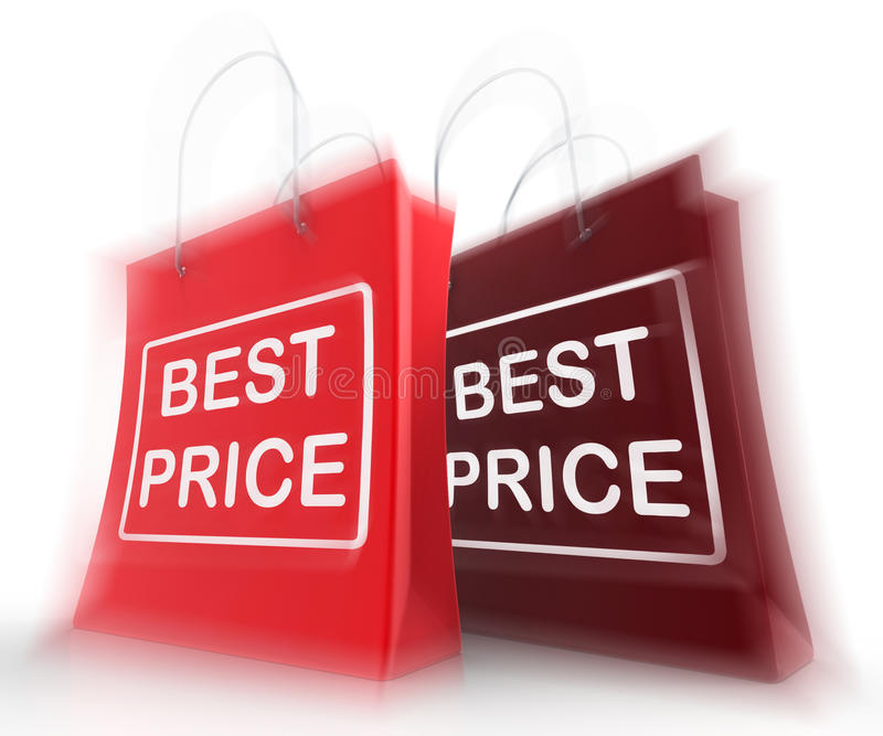 Best Price Shopping Bags Represent Discounts and Bargains. Best Price Shopping Bags Representing Discounts and Bargains royalty free illustration