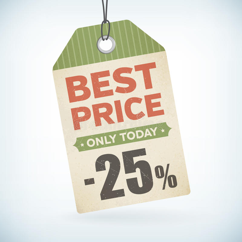 Best price only totady paper -25 percent price off tag stock illustration