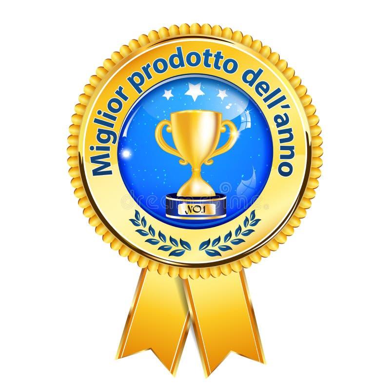 The Best Product Of The Year Italian Language Award Ribbon Stock